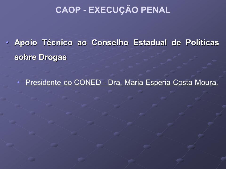 CAOP - EXECUÇÃO PENAL Apoio Técnico ao Conselho Estadual de Políticas sobre Drogas.