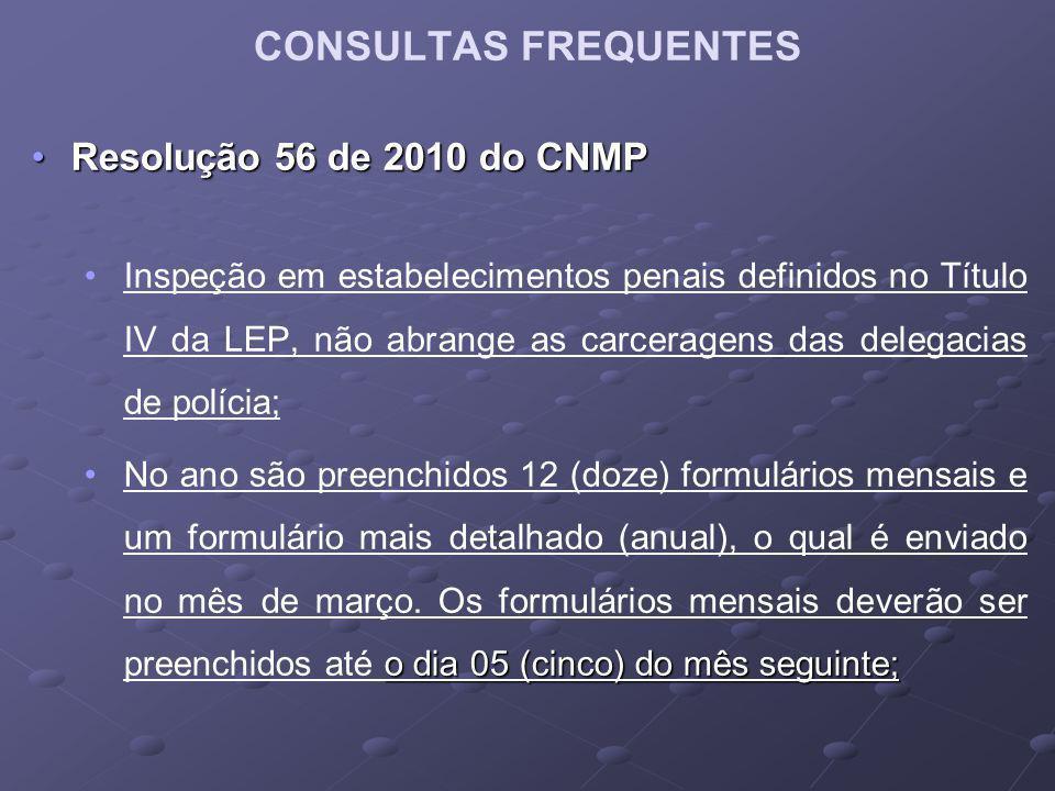 CONSULTAS FREQUENTES Resolução 56 de 2010 do CNMP