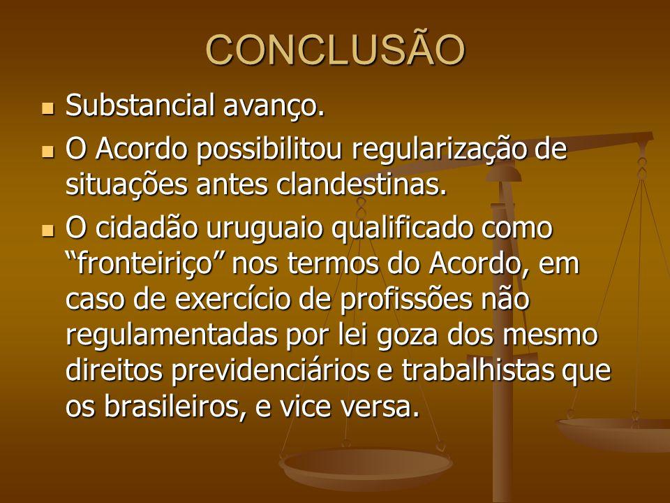 CONCLUSÃO Substancial avanço.