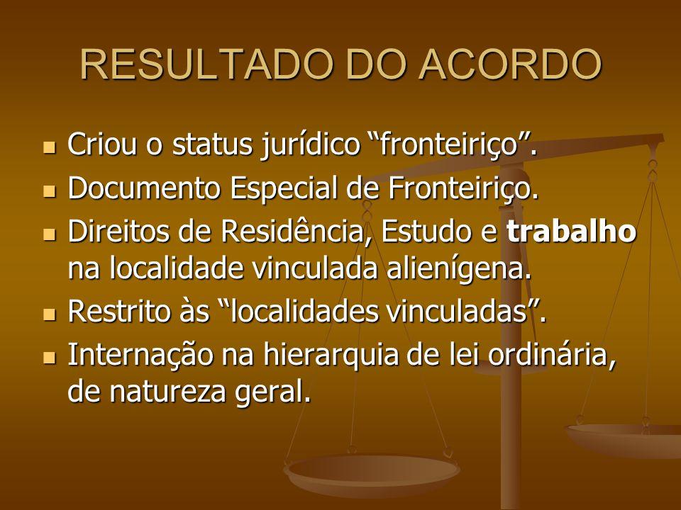 RESULTADO DO ACORDO Criou o status jurídico fronteiriço .