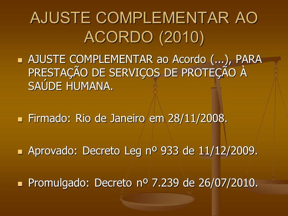 AJUSTE COMPLEMENTAR AO ACORDO (2010)