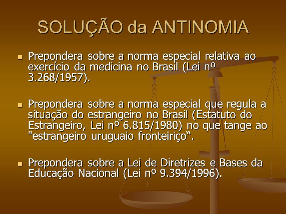 SOLUÇÃO da ANTINOMIA Prepondera sobre a norma especial relativa ao exercício da medicina no Brasil (Lei nº 3.268/1957).