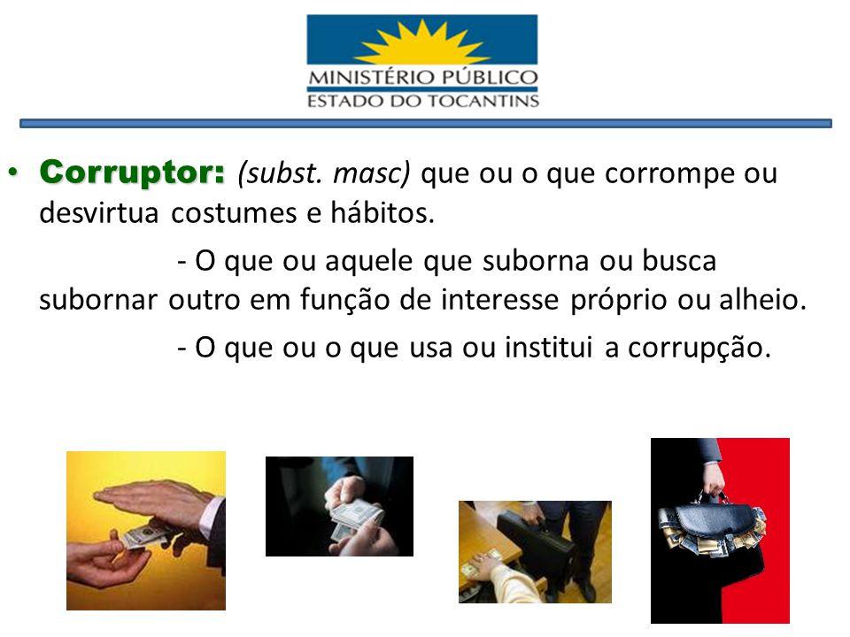 Corruptor: (subst. masc) que ou o que corrompe ou desvirtua costumes e hábitos.