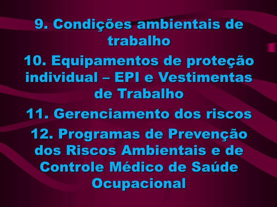 9. Condições ambientais de trabalho 11. Gerenciamento dos riscos