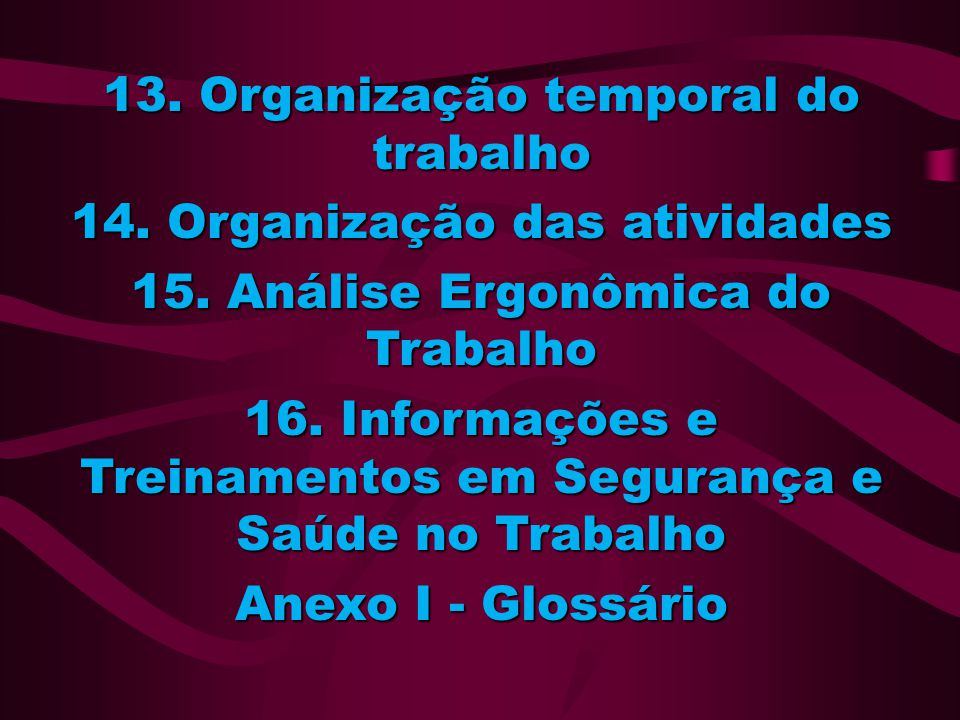 13. Organização temporal do trabalho 14. Organização das atividades