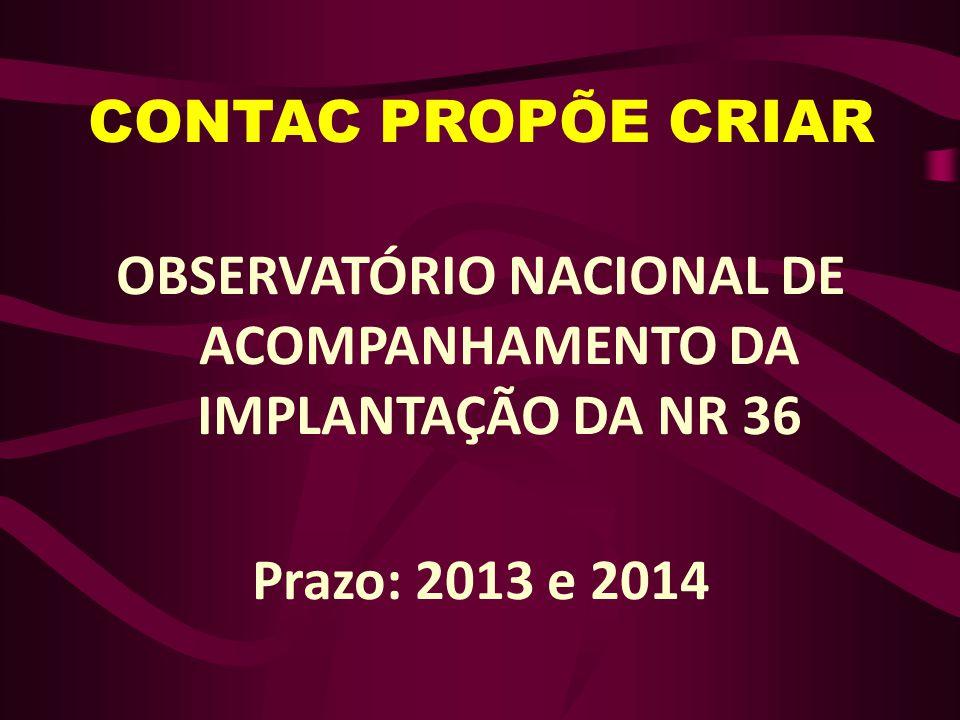 OBSERVATÓRIO NACIONAL DE ACOMPANHAMENTO DA IMPLANTAÇÃO DA NR 36