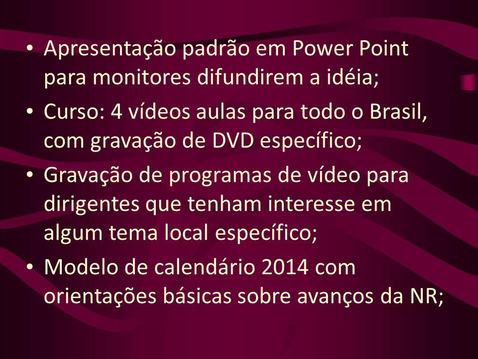 Apresentação padrão em Power Point para monitores difundirem a idéia;