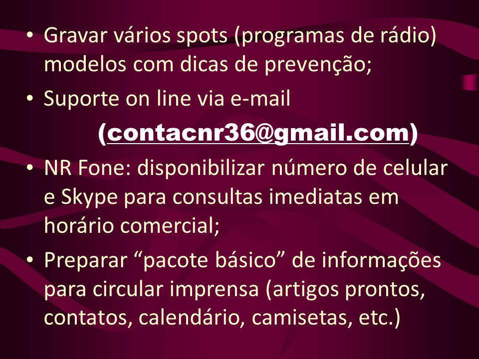 Gravar vários spots (programas de rádio) modelos com dicas de prevenção;
