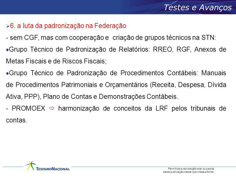 Testes e Avanços 6. a luta da padronização na Federação. - sem CGF, mas com cooperação e criação de grupos técnicos na STN:
