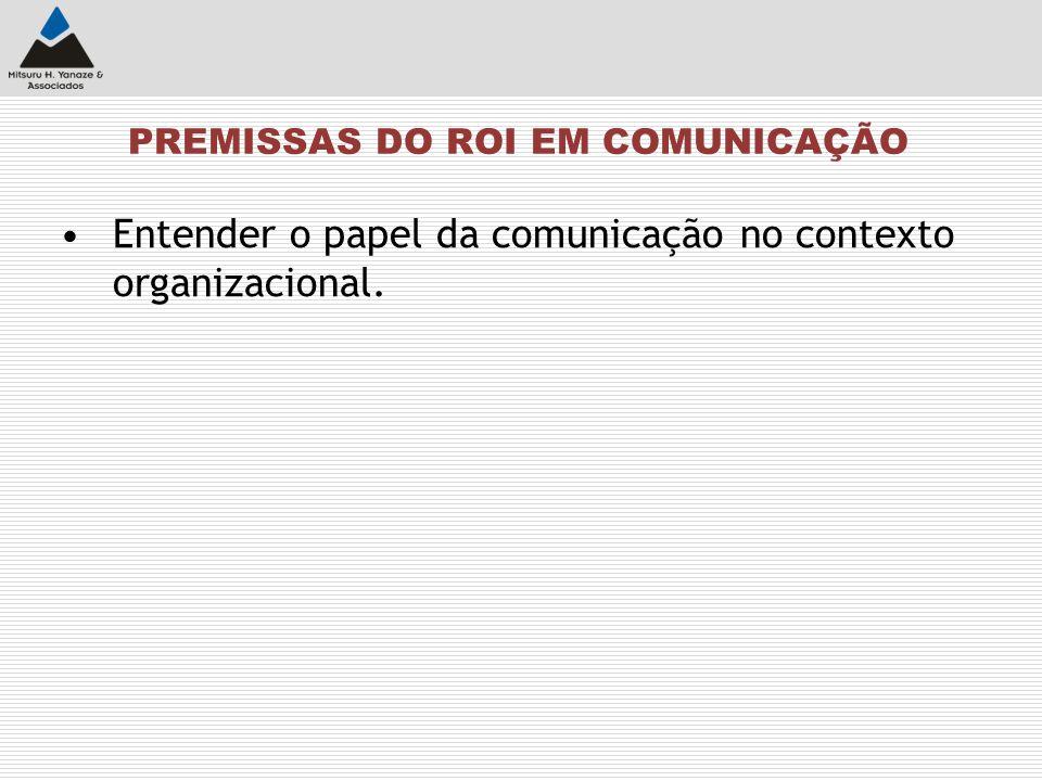 PREMISSAS DO ROI EM COMUNICAÇÃO
