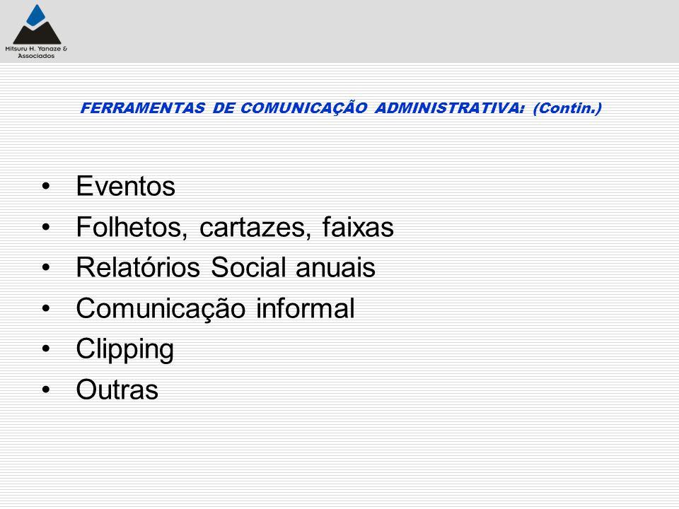 FERRAMENTAS DE COMUNICAÇÃO ADMINISTRATIVA: (Contin.)