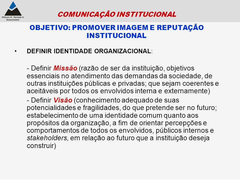 COMUNICAÇÃO INSTITUCIONAL OBJETIVO: PROMOVER IMAGEM E REPUTAÇÃO INSTITUCIONAL