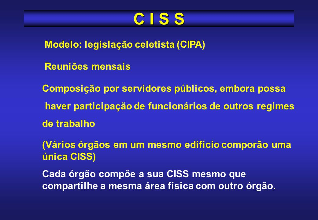 C I S S Modelo: legislação celetista (CIPA) Reuniões mensais