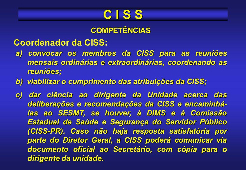 C I S S Coordenador da CISS: COMPETÊNCIAS