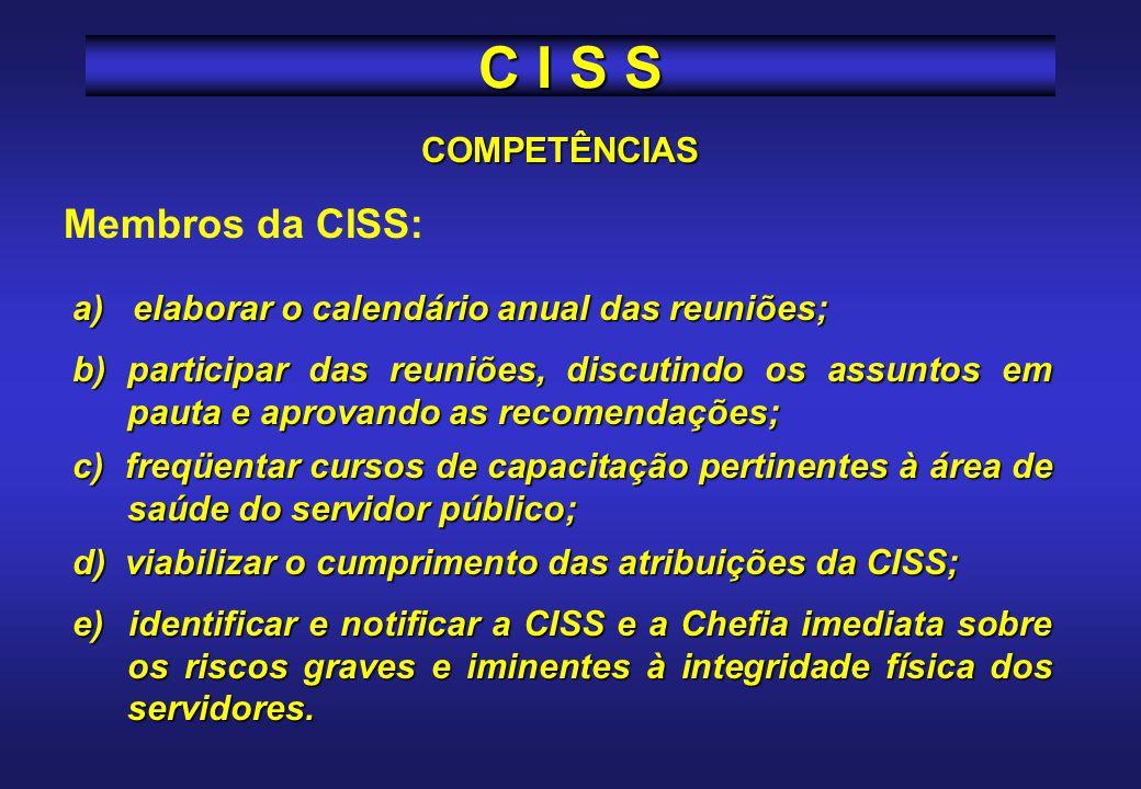 C I S S Membros da CISS: COMPETÊNCIAS