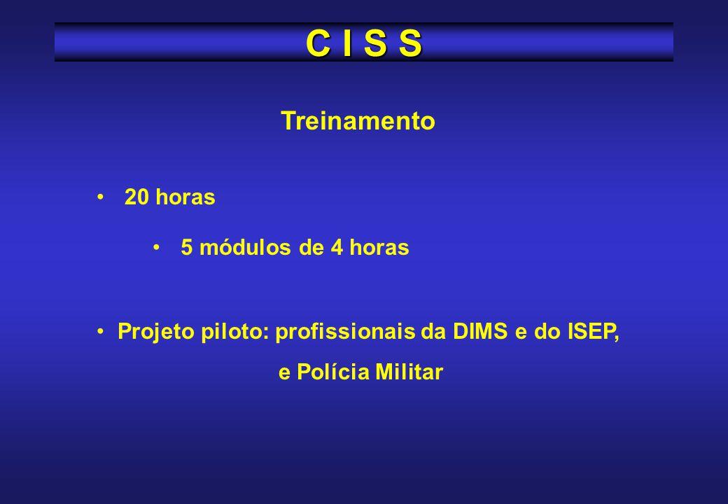 C I S S Treinamento 20 horas 5 módulos de 4 horas