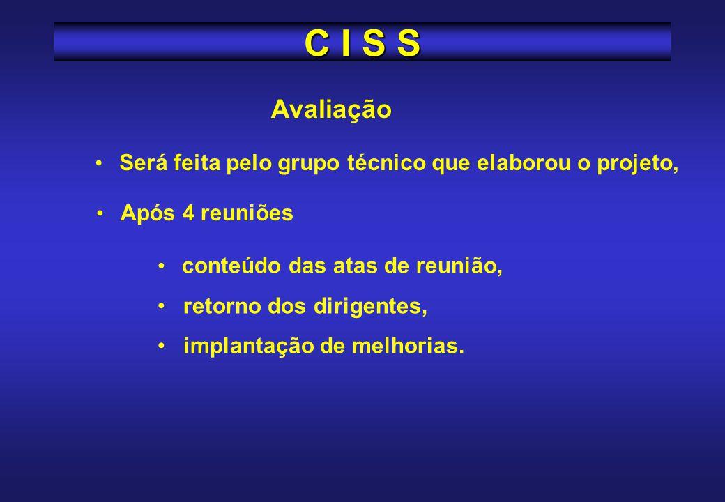 C I S S Avaliação. Será feita pelo grupo técnico que elaborou o projeto, Após 4 reuniões. conteúdo das atas de reunião,