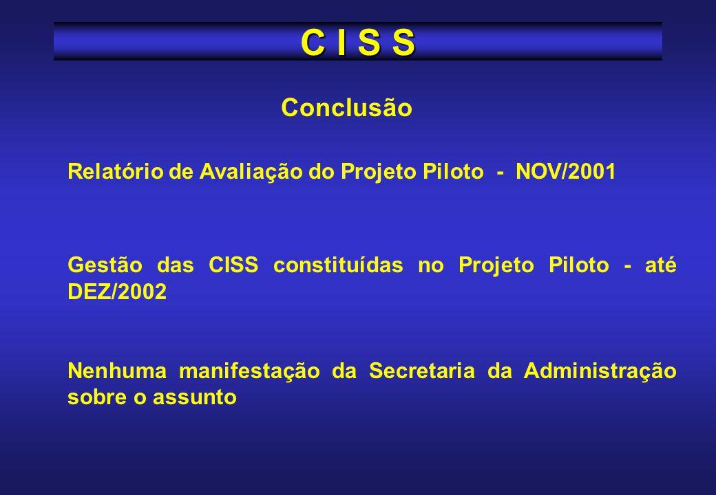 C I S S Conclusão Relatório de Avaliação do Projeto Piloto - NOV/2001
