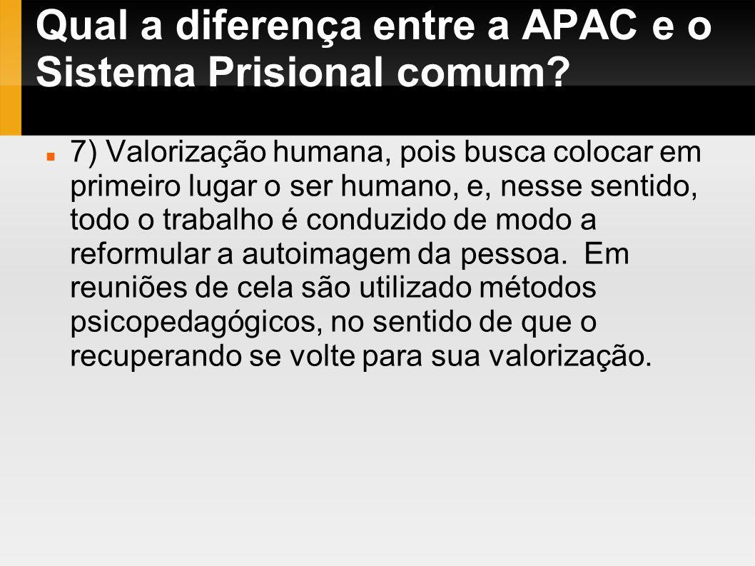 Qual a diferença entre a APAC e o Sistema Prisional comum