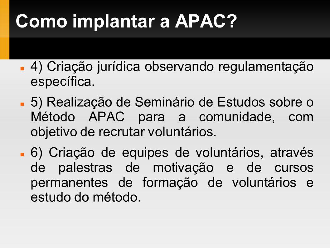 Como implantar a APAC 4) Criação jurídica observando regulamentação específica.