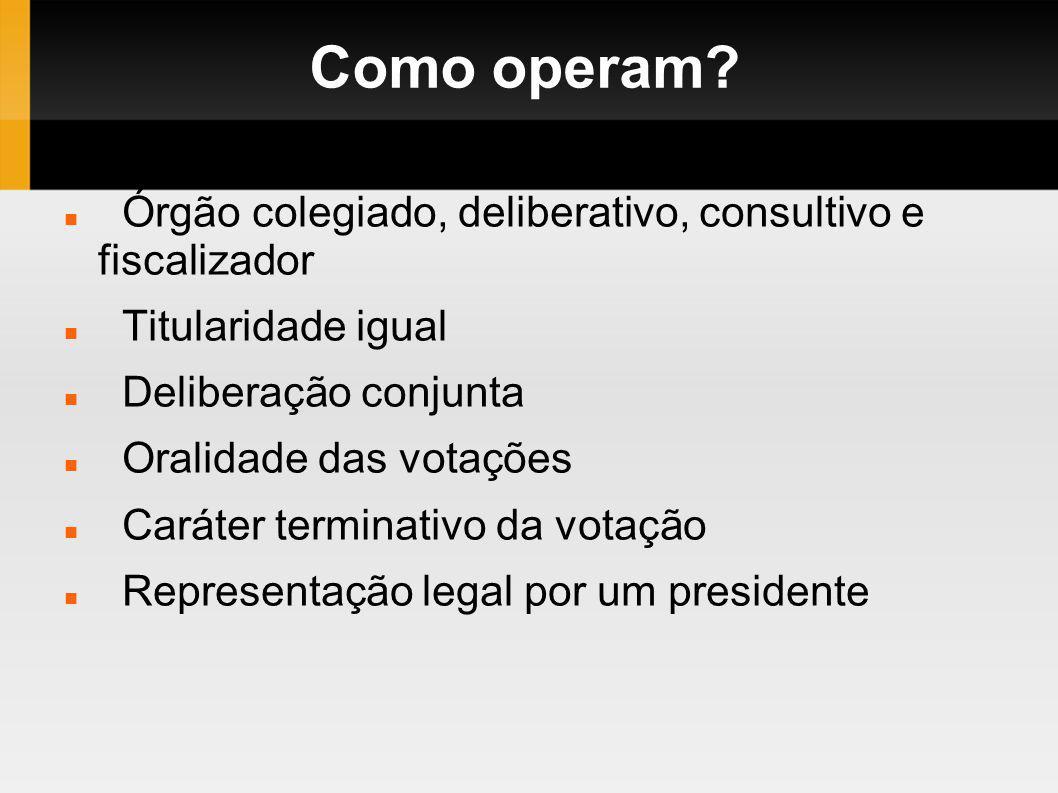 Como operam Órgão colegiado, deliberativo, consultivo e fiscalizador