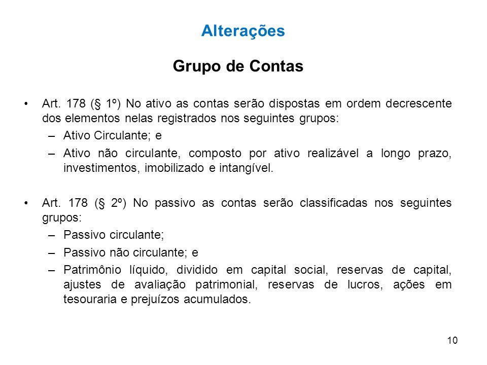 Alterações Grupo de Contas
