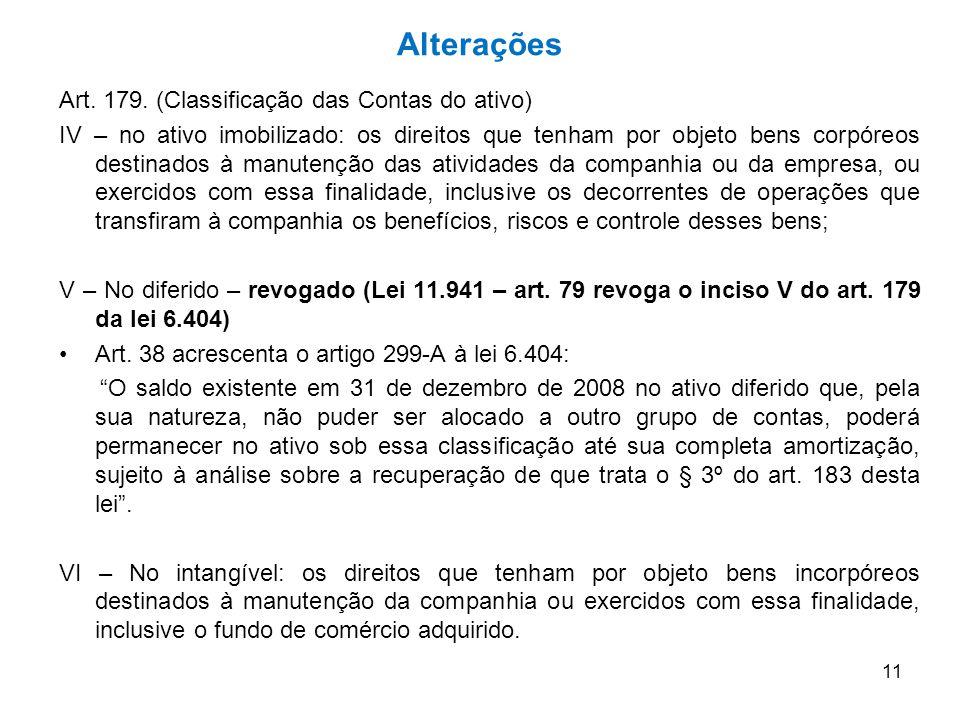 Alterações Art. 179. (Classificação das Contas do ativo)
