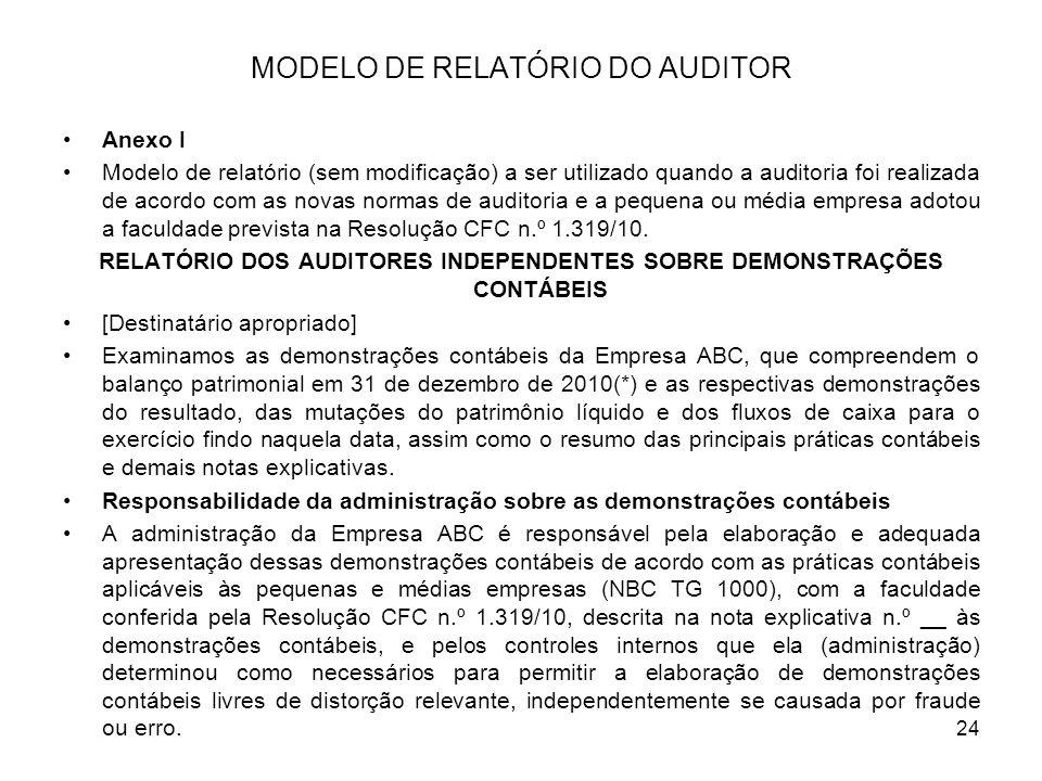 MODELO DE RELATÓRIO DO AUDITOR