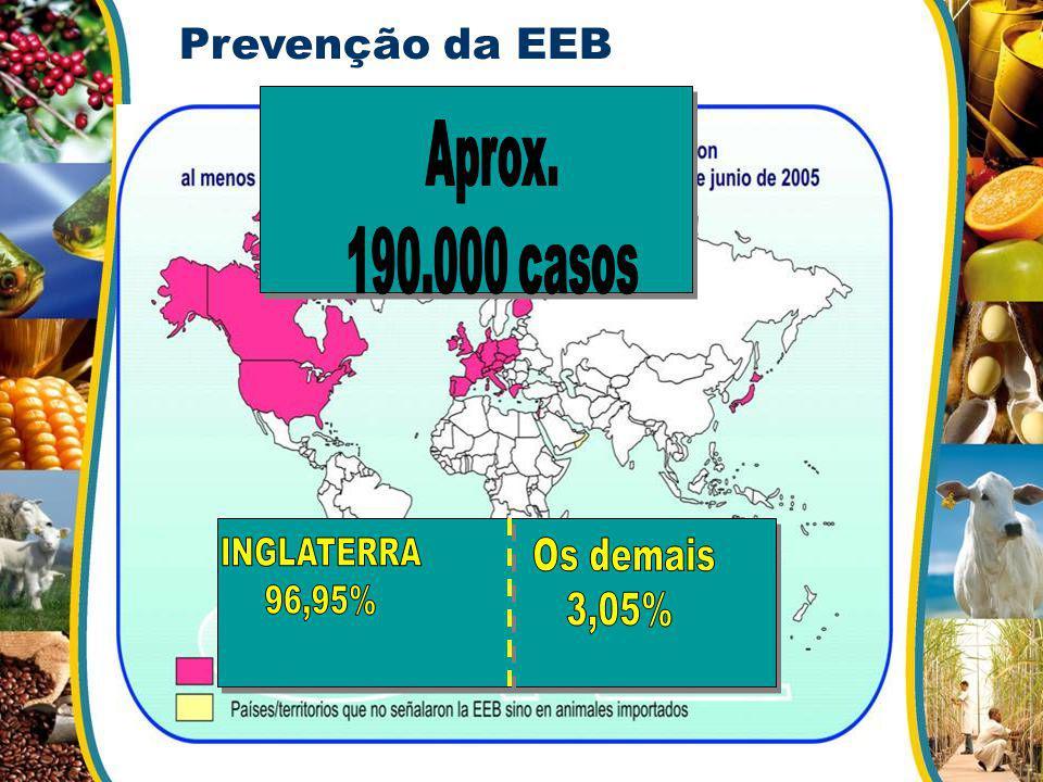 Aprox. 190.000 casos Os demais 3,05% Prevenção da EEB INGLATERRA