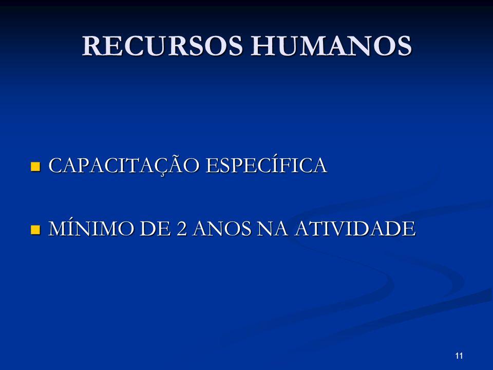 RECURSOS HUMANOS CAPACITAÇÃO ESPECÍFICA MÍNIMO DE 2 ANOS NA ATIVIDADE