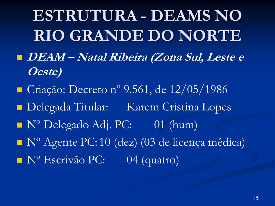 ESTRUTURA - DEAMS NO RIO GRANDE DO NORTE