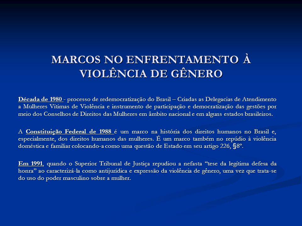 MARCOS NO ENFRENTAMENTO À VIOLÊNCIA DE GÊNERO