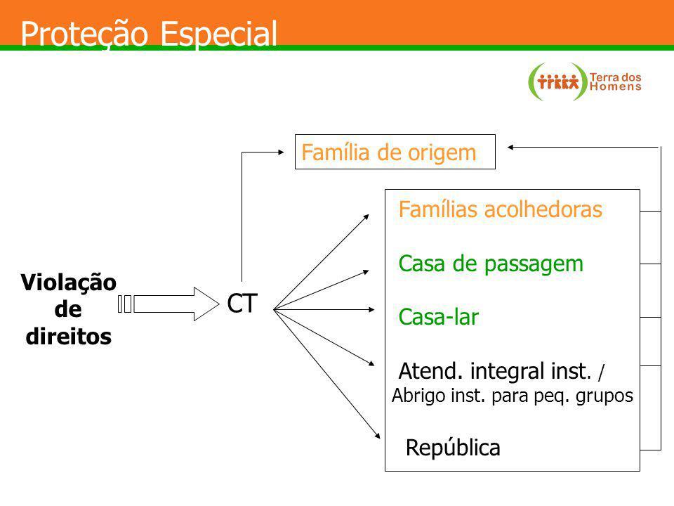 Proteção Especial CT Família de origem Famílias acolhedoras