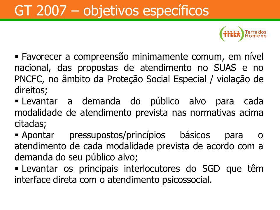 GT 2007 – objetivos específicos