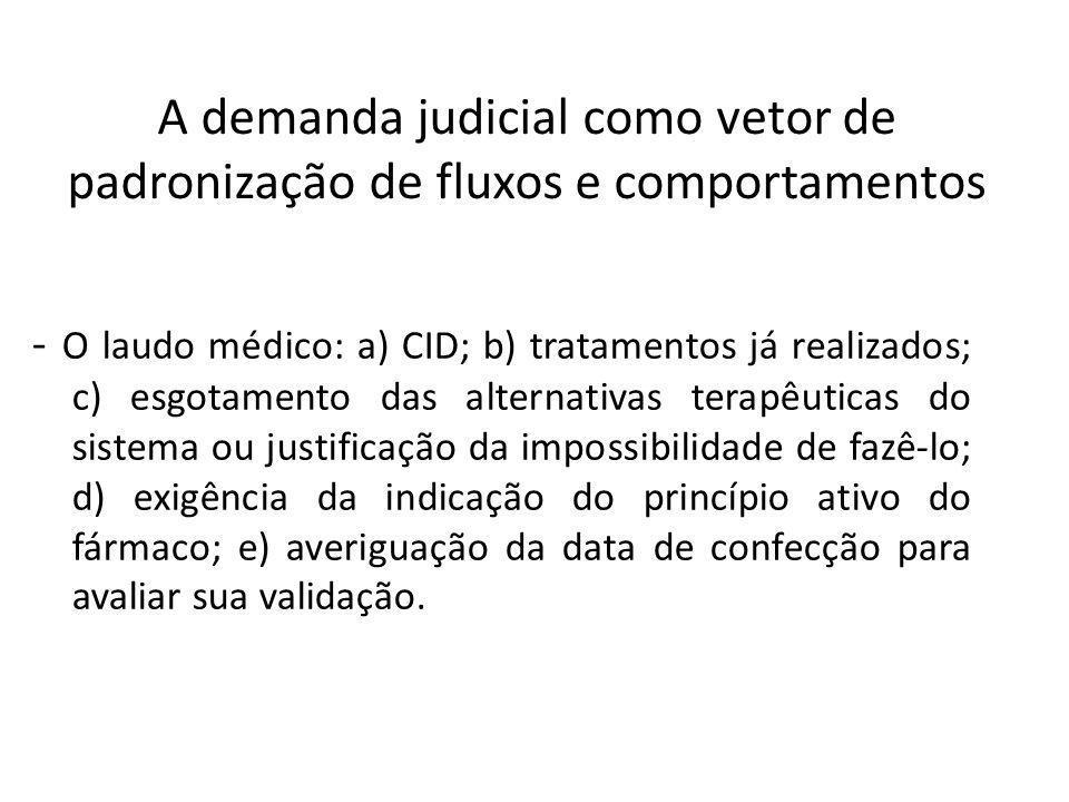 A demanda judicial como vetor de padronização de fluxos e comportamentos