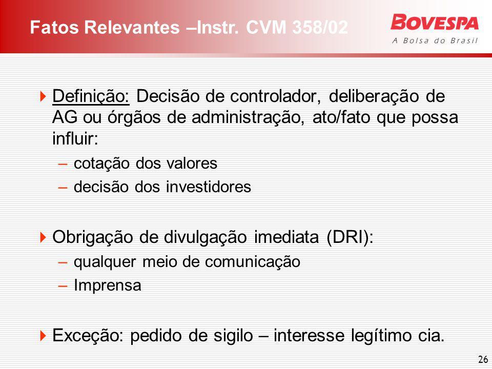 Relacionamento Bovespa x companhias