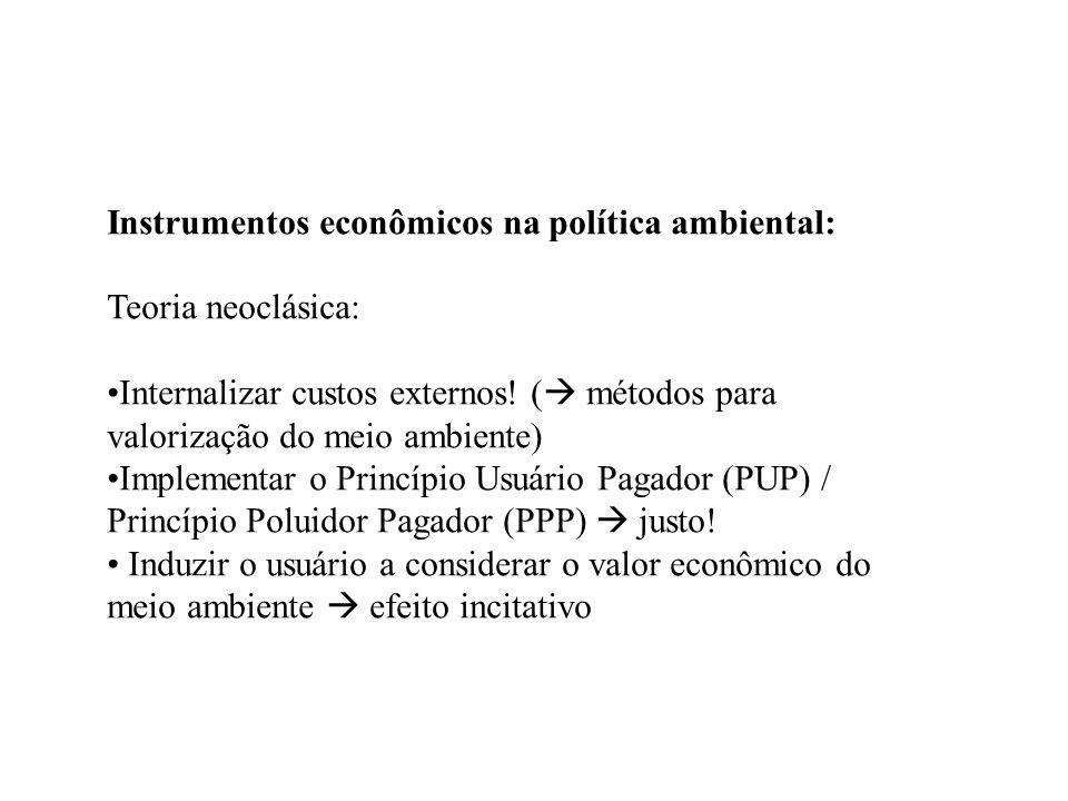 Instrumentos econômicos na política ambiental: