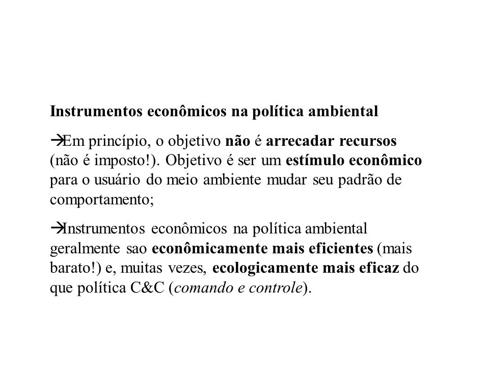 Instrumentos econômicos na política ambiental