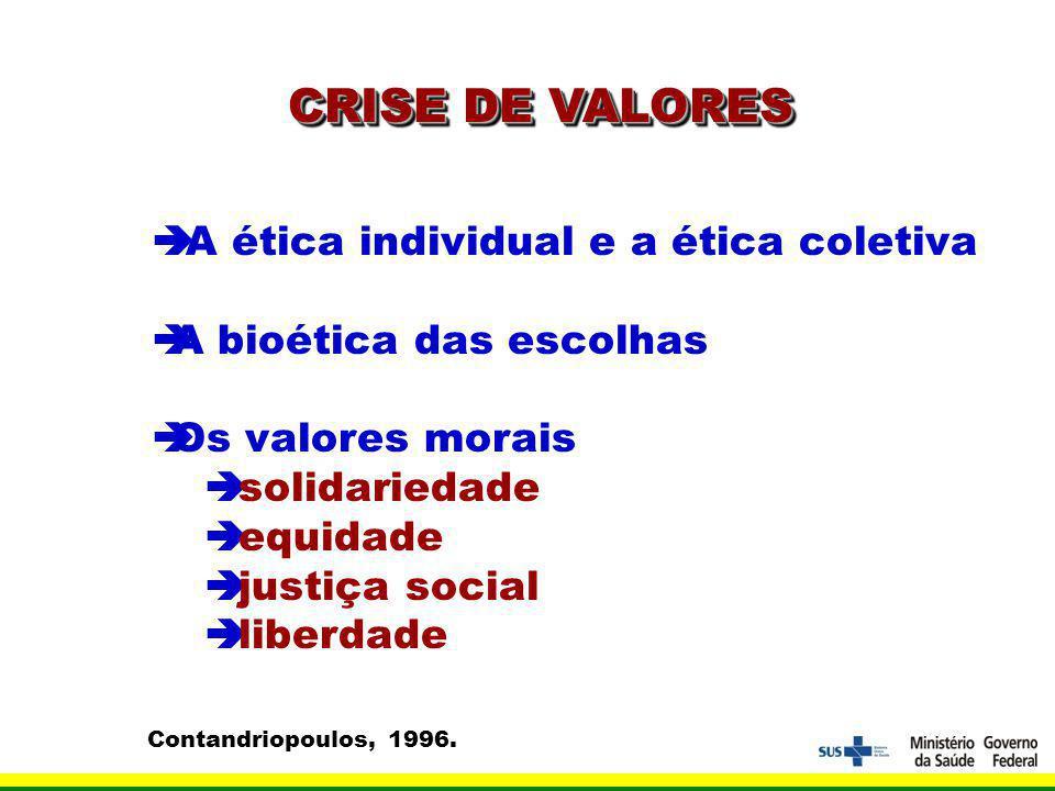 CRISE DE VALORES A ética individual e a ética coletiva