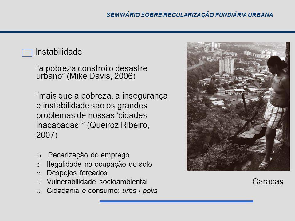 a pobreza constroi o desastre urbano (Mike Davis, 2006)