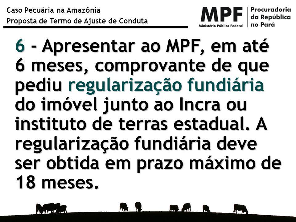 6 - Apresentar ao MPF, em até 6 meses, comprovante de que pediu regularização fundiária do imóvel junto ao Incra ou instituto de terras estadual.