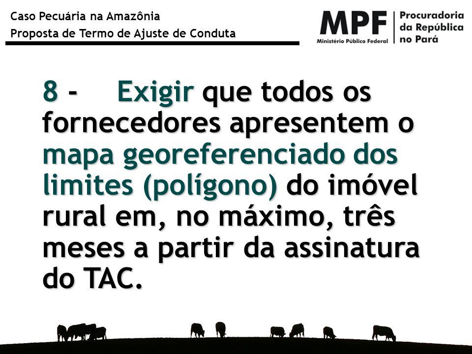 8 - Exigir que todos os fornecedores apresentem o mapa georeferenciado dos limites (polígono) do imóvel rural em, no máximo, três meses a partir da assinatura do TAC.