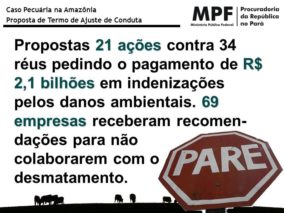 Propostas 21 ações contra 34 réus pedindo o pagamento de R$ 2,1 bilhões em indenizações pelos danos ambientais. 69 empresas receberam recomen-dações para não