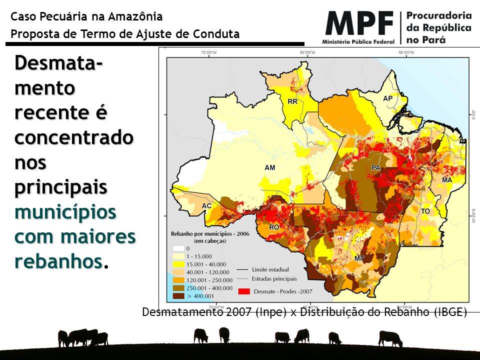 Desmata-mento recente é concentrado nos principais municípios com maiores rebanhos.