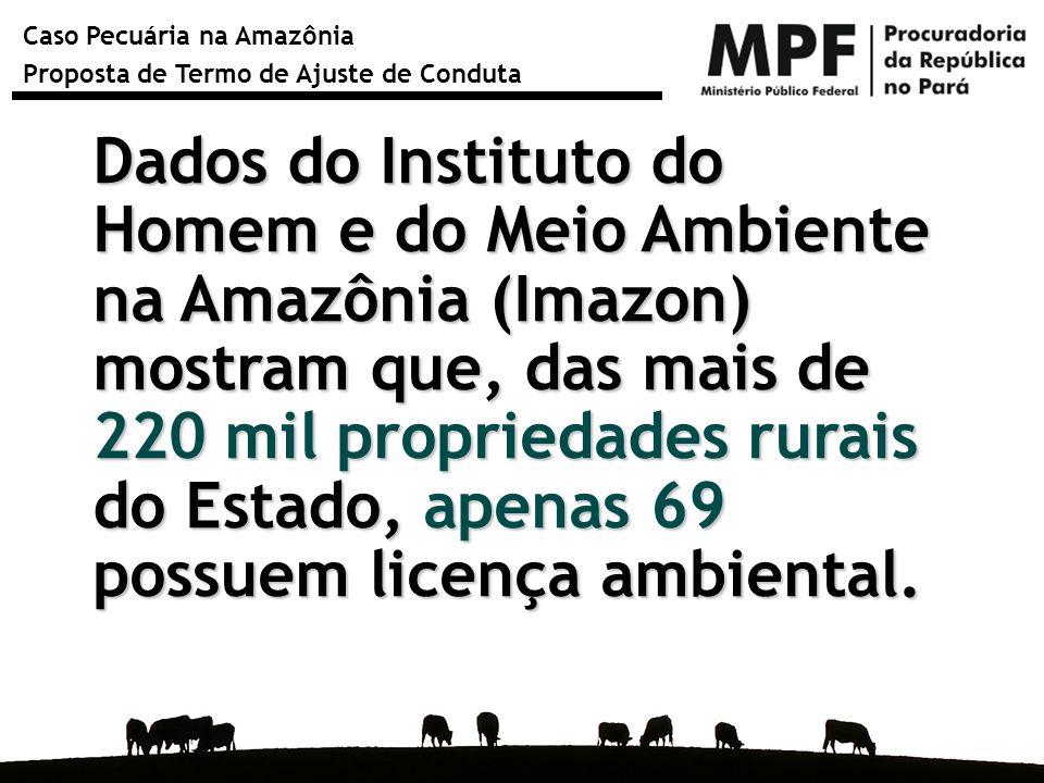 Dados do Instituto do Homem e do Meio Ambiente na Amazônia (Imazon) mostram que, das mais de 220 mil propriedades rurais do Estado, apenas 69 possuem licença ambiental.
