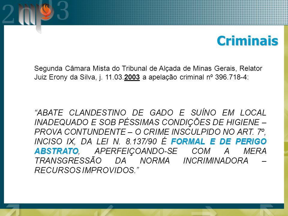 Criminais Segunda Câmara Mista do Tribunal de Alçada de Minas Gerais, Relator Juiz Erony da Silva, j. 11.03.2003 a apelação criminal nº 396.718-4: