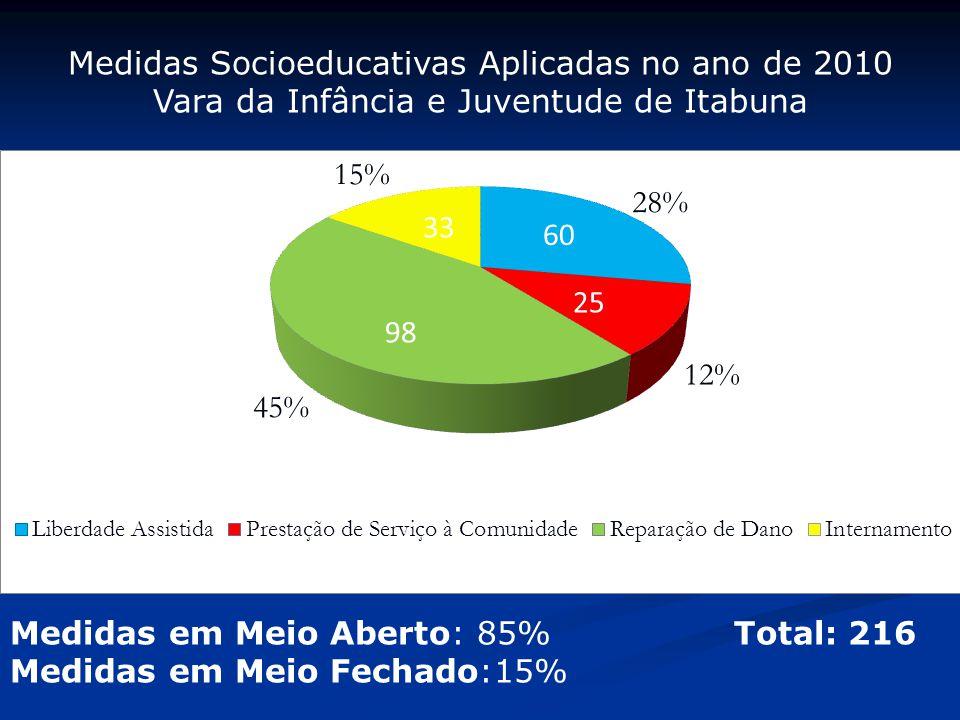 Medidas Socioeducativas Aplicadas no ano de 2010