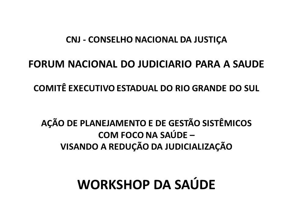 WORKSHOP DA SAÚDE FORUM NACIONAL DO JUDICIARIO PARA A SAUDE