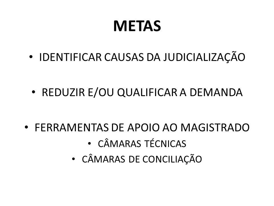 METAS IDENTIFICAR CAUSAS DA JUDICIALIZAÇÃO
