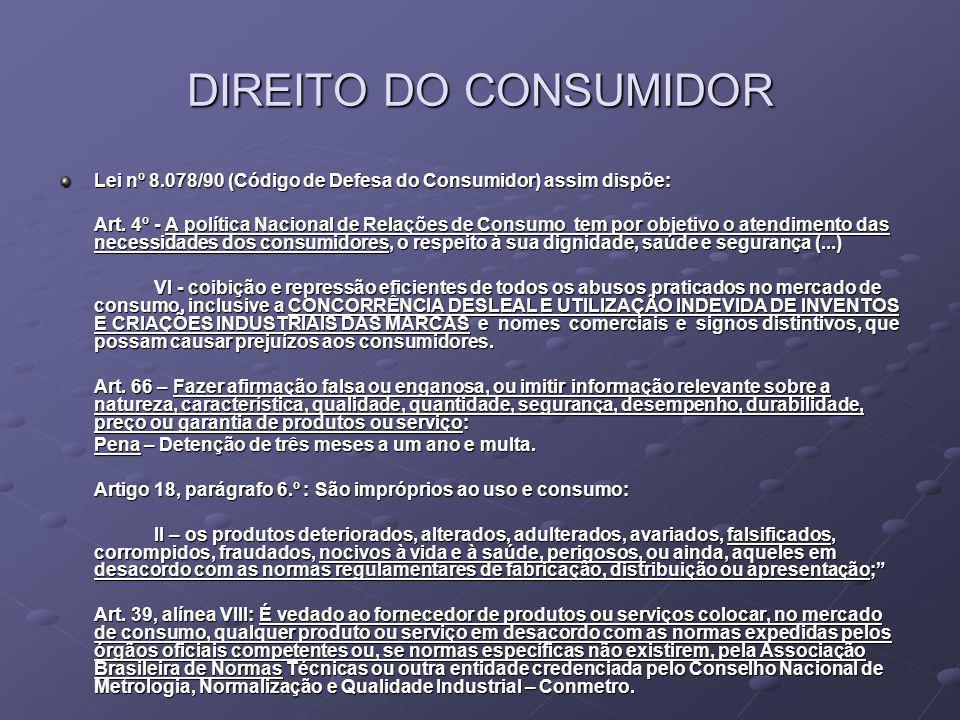 DIREITO DO CONSUMIDOR Lei nº 8.078/90 (Código de Defesa do Consumidor) assim dispõe:
